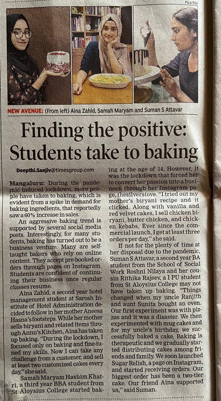 """Students taking baking classes amidst pandemic"" has featured Suman S. Attavar in the Times of India newspaper"