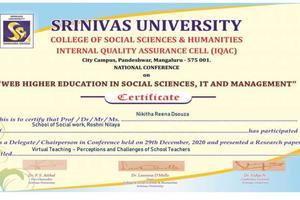 Research Paper presentation by Ms. Niketha D' Souza